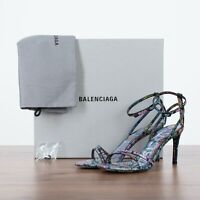 BALENCIAGA 995$ Black Leather Sandals With Multicolor Graffiti Print