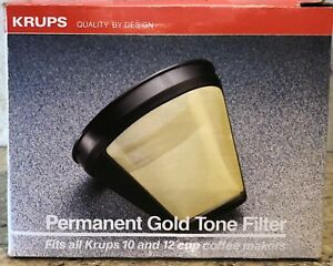 KRUPS 48605 053033 Permanent Gold Tone Coffee Maker Filter 10-12 Cup Models NEW