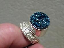 Sajen Blue Druzy 925 STERLING SILVER Ring sz 8.5