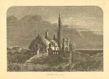 Home, Architecture, The Moated Grange, Vintage,1876 Antique, Art, Print,