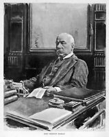 JOHN PIERPONT MORGAN 1895 BANKING J. P. MORGAN BANKER SITTING AT HIS DESK BANK