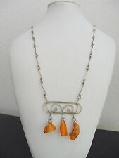 ANTIQUE BUTTERSCOTCH NATURAL AMBER OLD BEAD SOLID SILVER NECKLACE