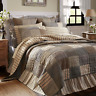 SAWYER MILL King Quilt Patchwork Block Farmhouse Country Charcoal Gray/Tan/Creme