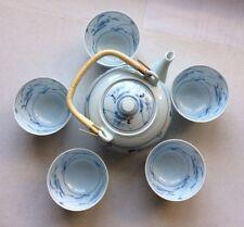 CHINESE TEA SET DELICATE PORCELAIN BLUE & WHITE FLORAL TEA POT & 5 Cups