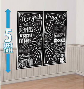 Scene Setter GRADUATION party wall decor kit Black & White PHOTO BACKDROP grad