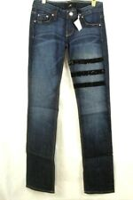 A7 Women's Jeans Embellished Straight Leg Stretch Striped Black Swarovski Sz 26