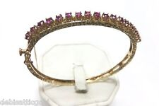 "14k Yellow Gold 1.70 TCW Ruby Bangle 6"" Bracelet Stunning Art Nouveau 12.5g"