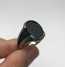 Turkish Ottoman Jewelry Black Onyx Side 925K Sterling Silver Men's Ring