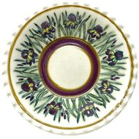 """9"""" Glazed Pottery Ruffled Edged Serving Bowl with Bearded Iris Signed Adams"""