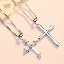 Halskette Anhänger Kreuz echt Sterling Silber 925 Zirkonia Damen Herren