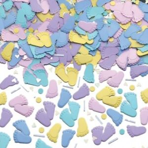 BABY SHOWER PITTER PATTER BLUE AND PINK BABY FEET TABLE CONFETTI - 14G BAG!