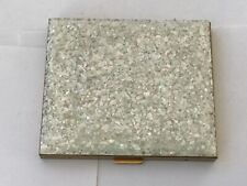 New listing Vintage White Confetti Glitter Goldtone Metal Compact with Puff