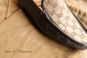 Men's Gucci Brown Tan Canvas Driving Boat Deck Loafers Shoes UK 8.5 EU 9.5
