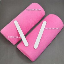 2 PC NUOVO lavabile nail art Morbido handrest Cuscino Pillow Colore Rosa # 287C