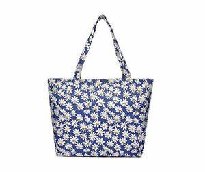 76181 Blue Daisy Print Canvas Shopper/Beach Bag