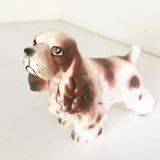 Brown White Cocker Spaniel Dog Standing Nub Tail Vintage Japan Ceramic Figurine