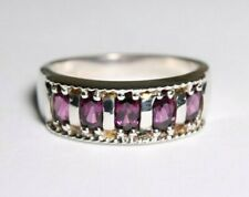 Sterling Silver 925 Ring Purple Gems Size 8