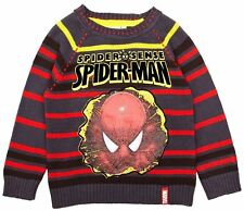 Boys Spiderman Knitted Pullover / Jumper Grey / Red Stripes-10 Years / 138 cm