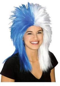 Unisex Adult Blue & White Sports Fanatic Long Spikey Rock Star Costume Wig