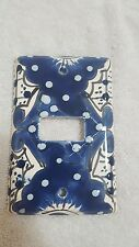 Talavera Mexican Pottery wall plate light switch cover Cobalt blue
