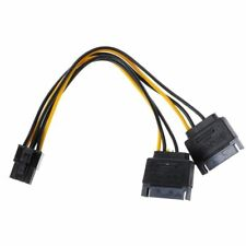 Dual 15-Pin SATA Power To 6-Pin PCI-E PCI Express Adapter Cable Wire Video Card