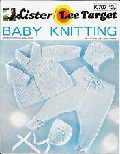 """Target 707 Baby Knitting Pattern QK/DK 18-20"""" Cardigan Hat Leggings Bonnet"""