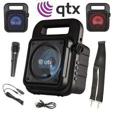 QTX Karaoke Machine Portable Bluetooth Party Disco LED Speaker inc Microphone