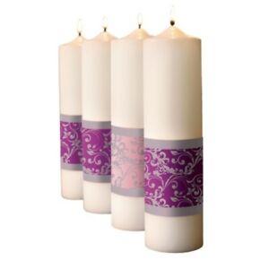 """12"""" Advent Emmanuel Damask Pillar Candles Wax"""
