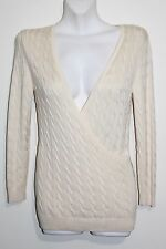 Women's Ann Taylor Cream Cable Knit Faux Wrap Silk Blend Sweater Size: XS