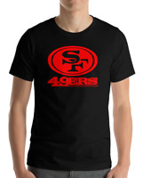 SAN FRANCISCO 49ERS BLACK T-Shirt RED Graphic Cotton Adult Logo  S-2XL