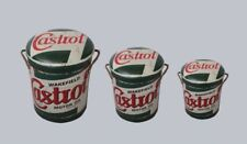CASTROL MOTOR OIL Metal Stool or Storage Bin Vintage Retro Seat Choose Your Size