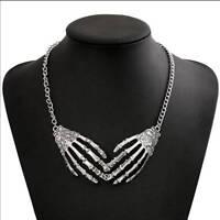 Devil Gothic Punk Skull Hands Necklace Silver Skeleton Pendant Choker Women Girl