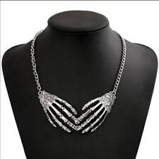 Devil Gothic Punk Skull Hands Necklace Silver Skeleton Pendant Choker Women Girl