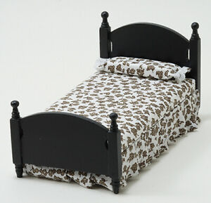 Dollhouse Miniatures 1:12 Scale Single Bed, Black #CLA10452
