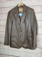 VINTAGE DOMINIQUE Mens 42 (L) Brown Leather 2 Button Blazer