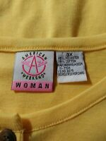 Sleeveless Blouse ~Size 3X Yellow ~~ Cotton Blend~~AMERICAN WEEKENDER ~~