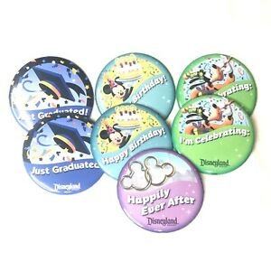 """7 WALT DISNEYLAND Pins Lot Button Badge Parks MICKEY MOUSE 3"""" NEW"""