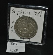 West Point Coins ~ Seychelles 1939 1 Rupee Silver KM#4
