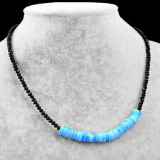 65.00 Cts Natural Peruvian Opal & Black Spinel Faceted Beads Necklace NK 08E60