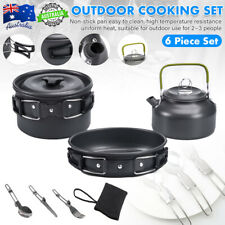 8Pcs/set Portable Camping Cookware Kit Outdoor Fishing Backpacking Cooking Gear