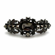 "Antiqued Silver 2.5"" Gray Black Jewel Crystal Filigree Barrette Style Hair Clip"