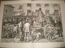 LAND LEAGUE agitazione Irlanda sherriff vendita bestiame di pagare l'affitto 1881 stampa ref A