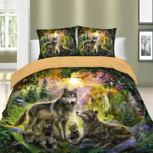 Wolf Animal Duvet Cover Set for Comforter Twin Queen King Size Bed Pillowshams