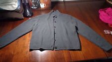 New Jones New York Women's Large Cardigan Sweater Gray Button Front Perfect Cond