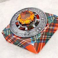 Fabulous Vintage Large Scottish Celtic Thistle Topaz Glass Brooch Kilt Pin
