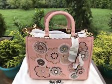 NWT Authentic Coach-Rouge-with-snake skin-tea-rose-rivets-Peony-Brass-26890