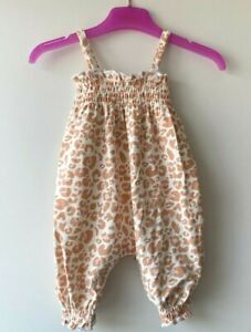 MOTHERCARE Girls Baby Romper MY K Summer Jumpsuit Coral Pink Leopard Print BNWT