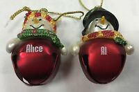 "Ganz Jingle Bell Snowman Name Ornament - ""P"" Names"