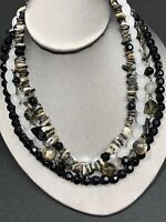 Vtg Bohemian Necklace 4 Multi Strand Glass Stone Shell Black Crystal Beaded  18""