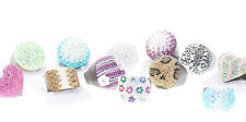 Wholesale Lot 25 New Multi-Color Crystal Round Heart Square Oval Wood Rings